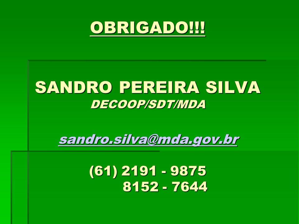 OBRIGADO. SANDRO PEREIRA SILVA DECOOP/SDT/MDA sandro. silva@mda. gov