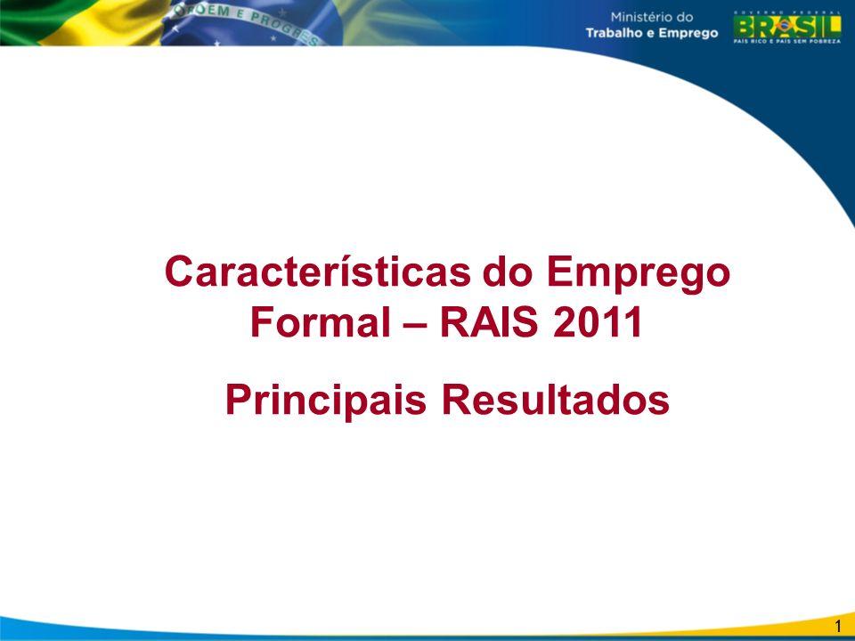 Características do Emprego Formal – RAIS 2011 Principais Resultados
