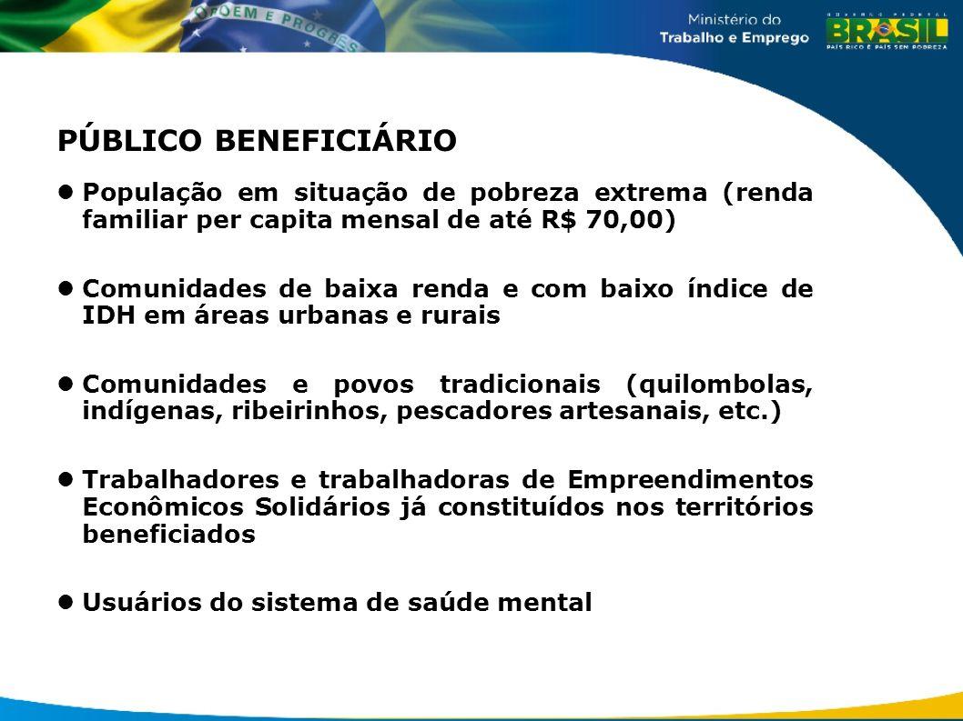 PÚBLICO BENEFICIÁRIO População em situação de pobreza extrema (renda familiar per capita mensal de até R$ 70,00)