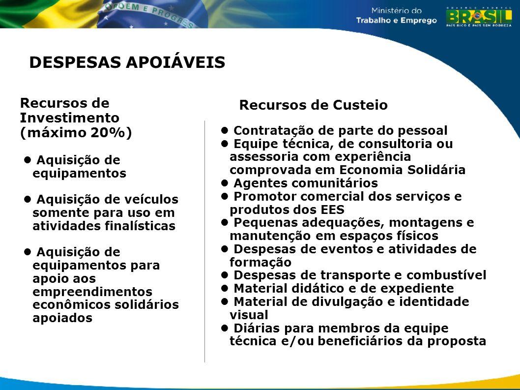 DESPESAS APOIÁVEIS Recursos de Investimento (máximo 20%)