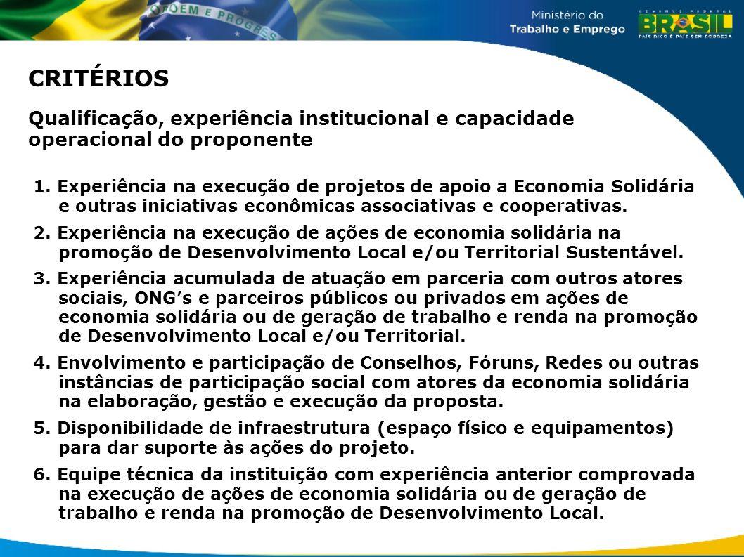 CRITÉRIOS Qualificação, experiência institucional e capacidade operacional do proponente.