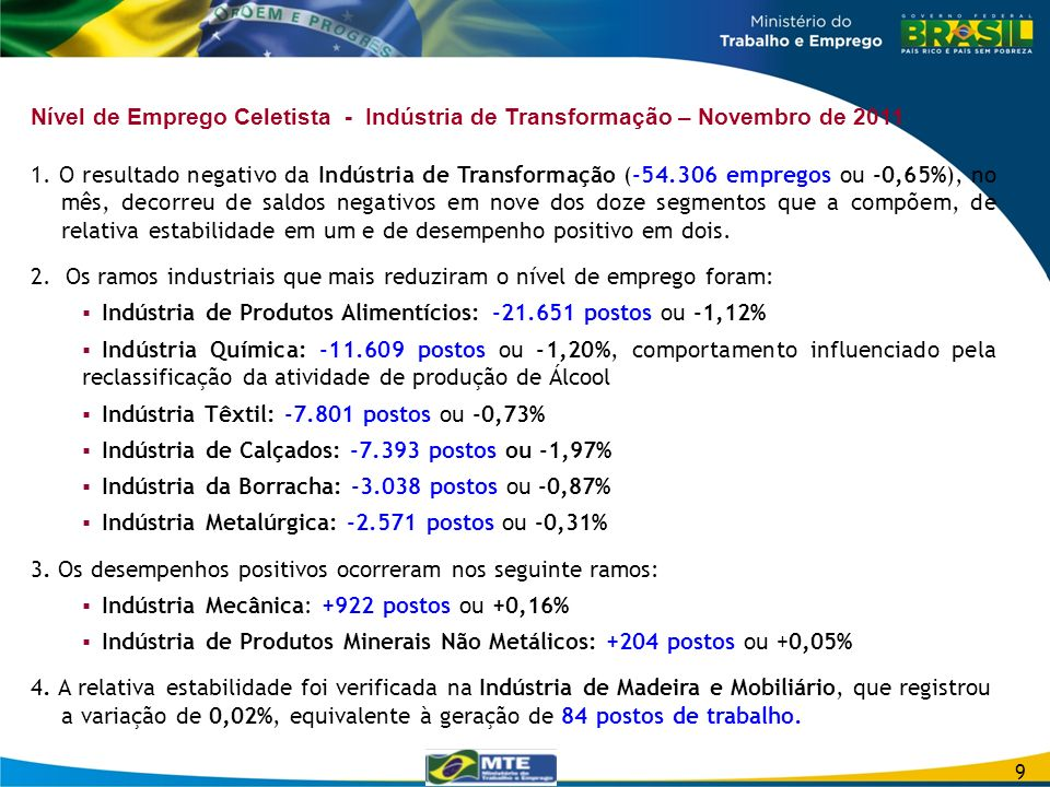 2. Os ramos industriais que mais reduziram o nível de emprego foram: