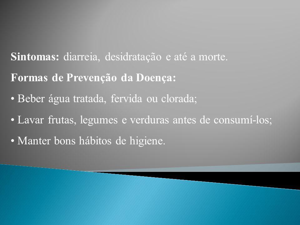 Sintomas: diarreia, desidratação e até a morte.