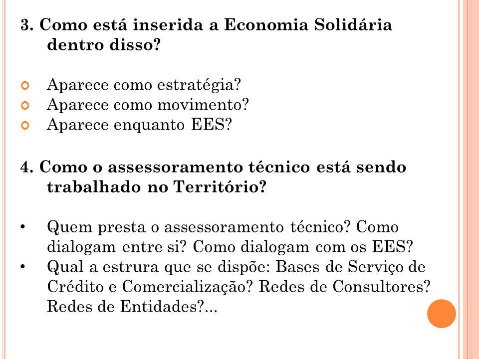 3. Como está inserida a Economia Solidária dentro disso