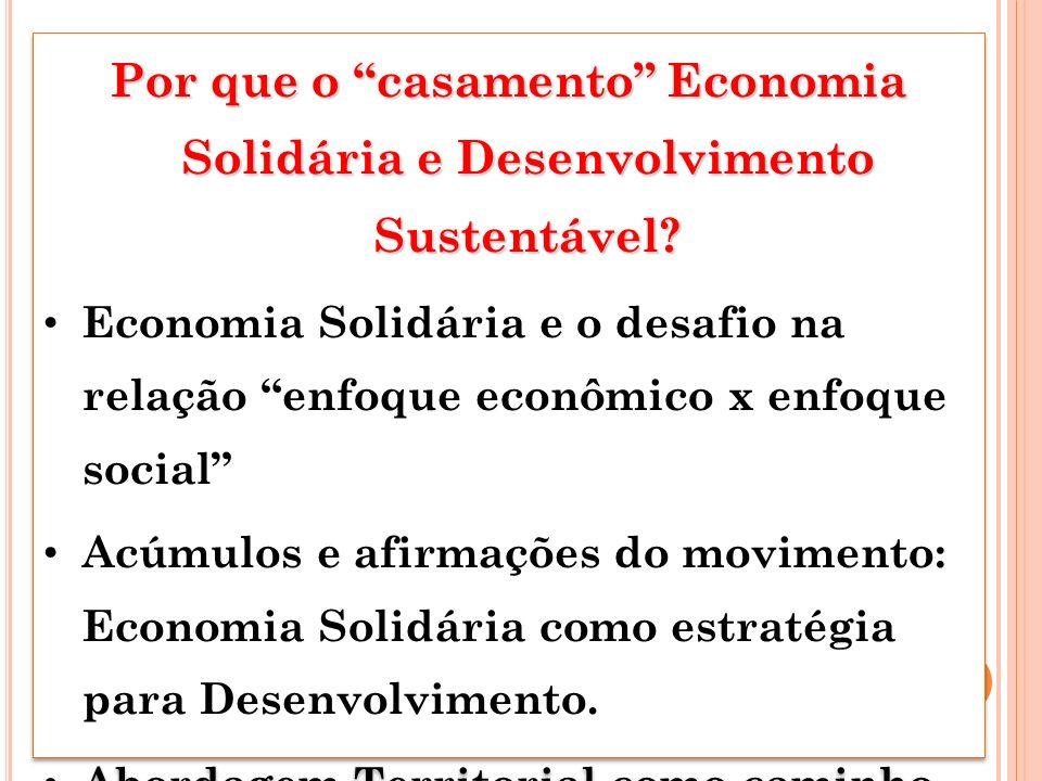 Por que o casamento Economia Solidária e Desenvolvimento Sustentável