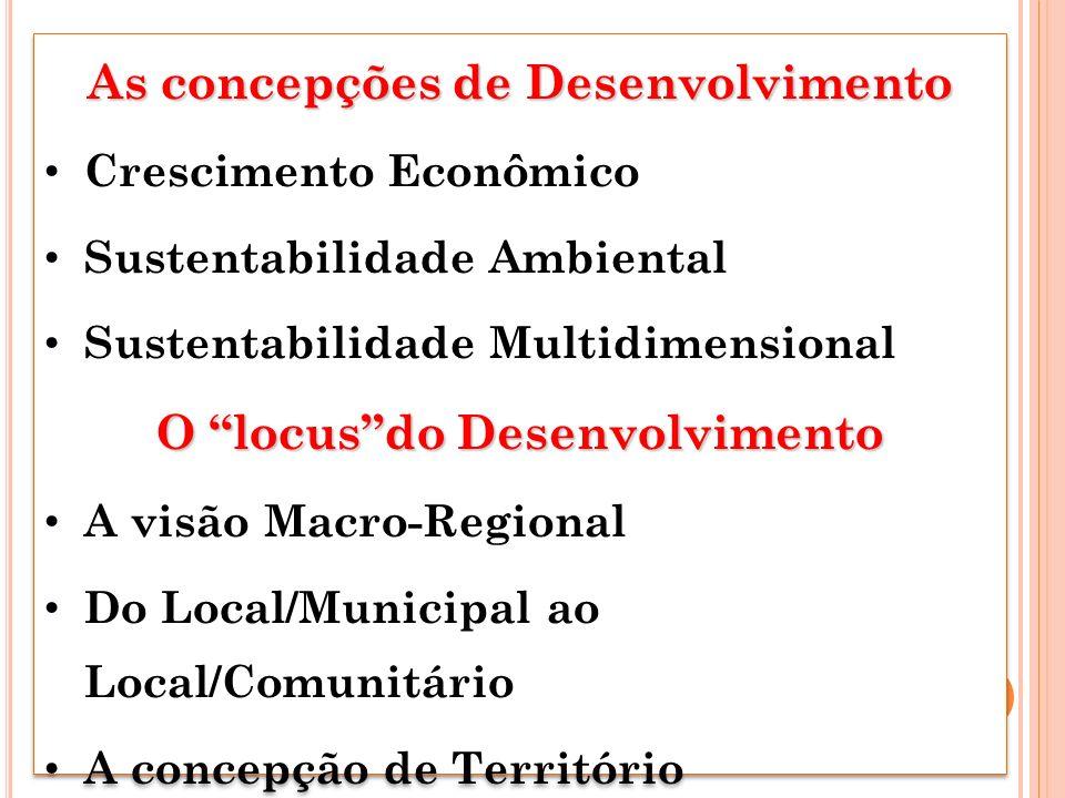 As concepções de Desenvolvimento O locus do Desenvolvimento