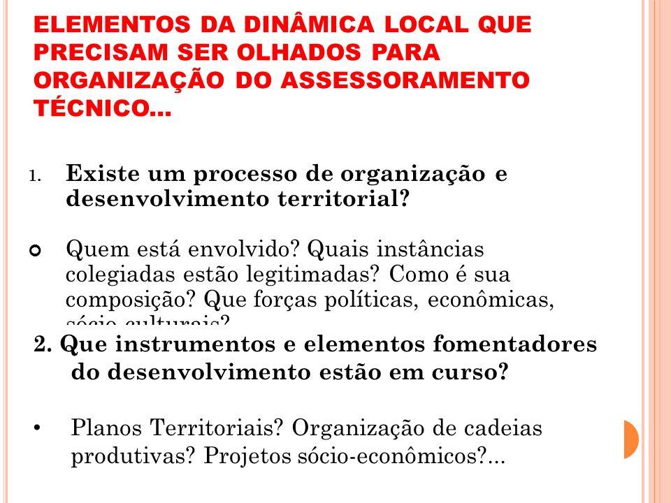ELEMENTOS DA DINÂMICA LOCAL QUE PRECISAM SER OLHADOS PARA ORGANIZAÇÃO DO ASSESSORAMENTO TÉCNICO...