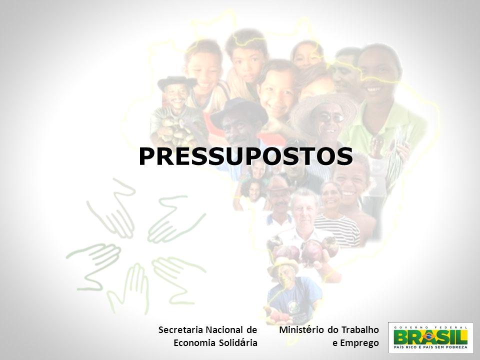 PRESSUPOSTOS Secretaria Nacional de Economia Solidária