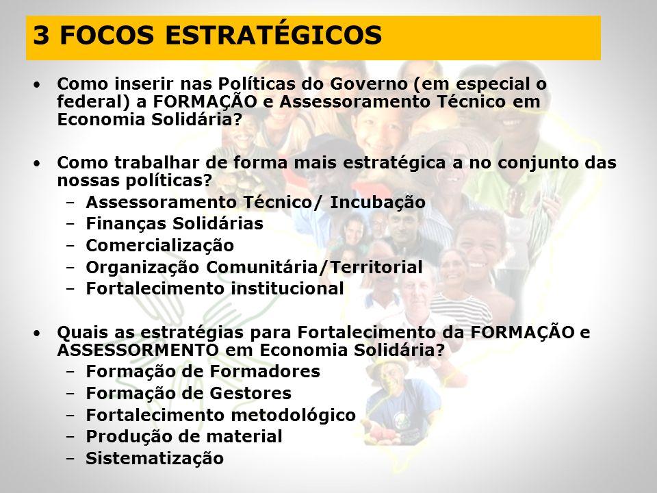 3 FOCOS ESTRATÉGICOS Como inserir nas Políticas do Governo (em especial o federal) a FORMAÇÃO e Assessoramento Técnico em Economia Solidária
