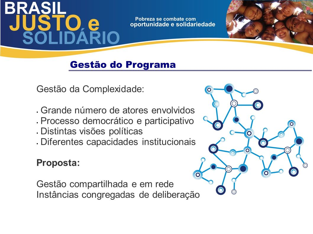 Gestão do Programa Gestão da Complexidade: Grande número de atores envolvidos. Processo democrático e participativo.