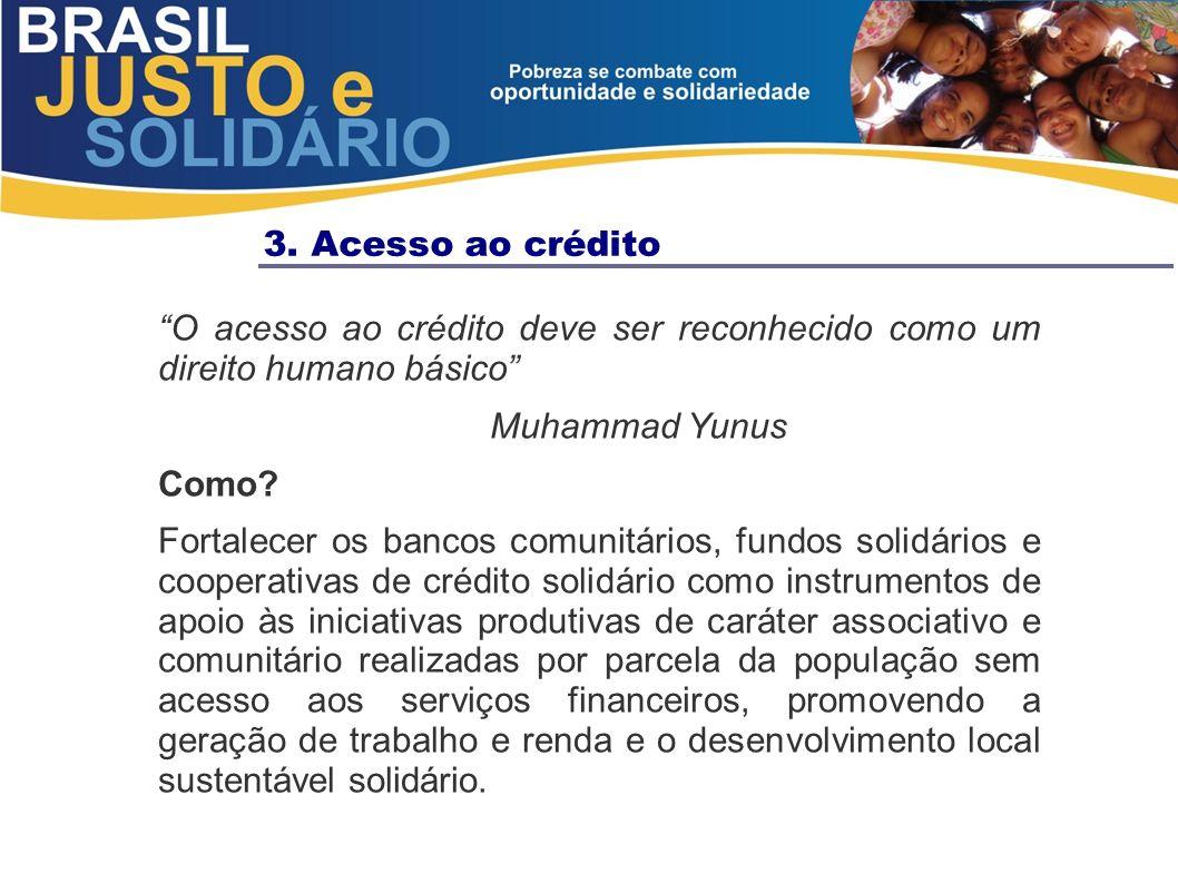 3. Acesso ao crédito O acesso ao crédito deve ser reconhecido como um direito humano básico Muhammad Yunus.