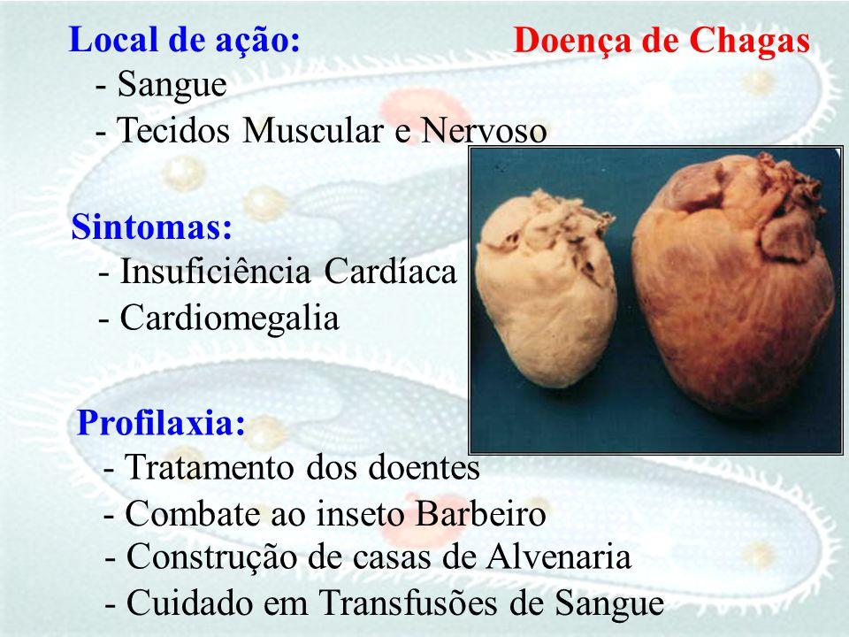 Local de ação: Doença de Chagas. - Sangue. - Tecidos Muscular e Nervoso. Sintomas: - Insuficiência Cardíaca.
