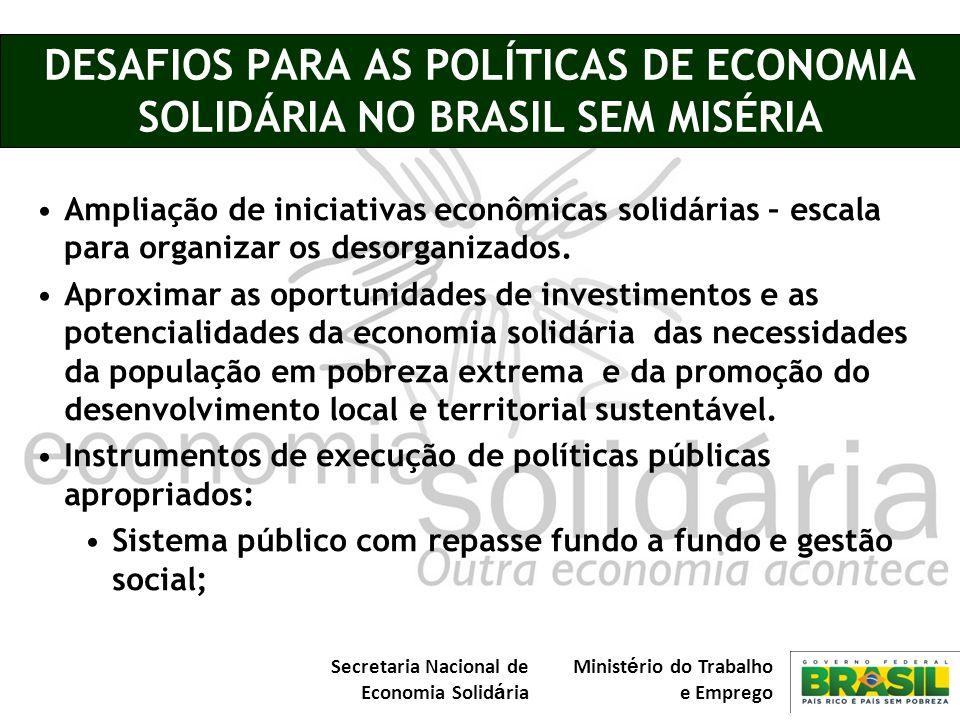 DESAFIOS PARA AS POLÍTICAS DE ECONOMIA SOLIDÁRIA NO BRASIL SEM MISÉRIA