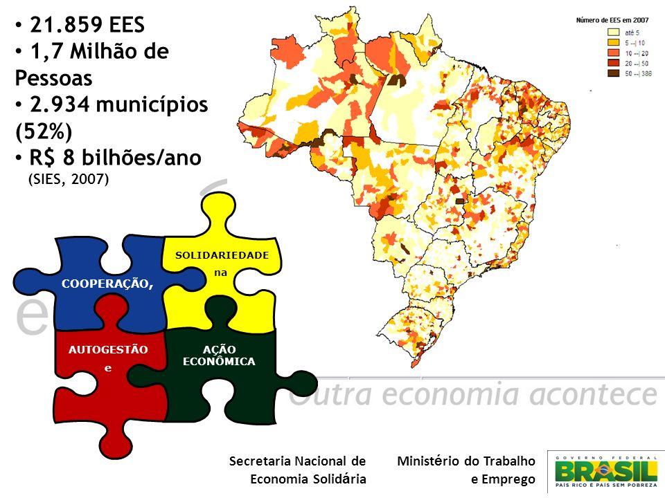 21.859 EES 1,7 Milhão de Pessoas 2.934 municípios (52%)