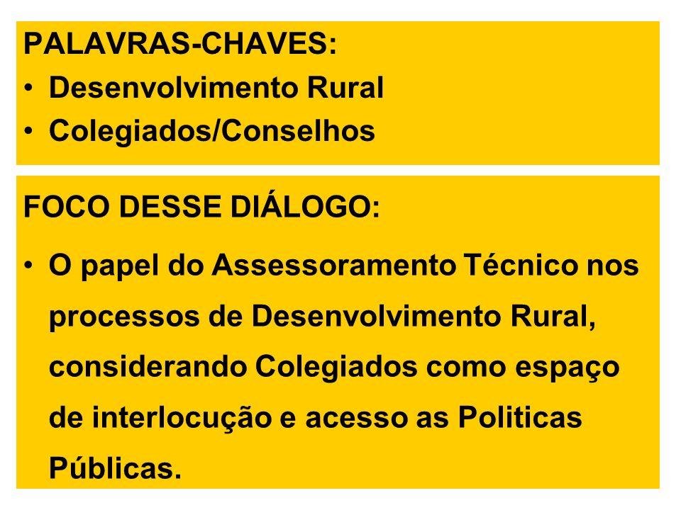 PALAVRAS-CHAVES: Desenvolvimento Rural. Colegiados/Conselhos. FOCO DESSE DIÁLOGO: