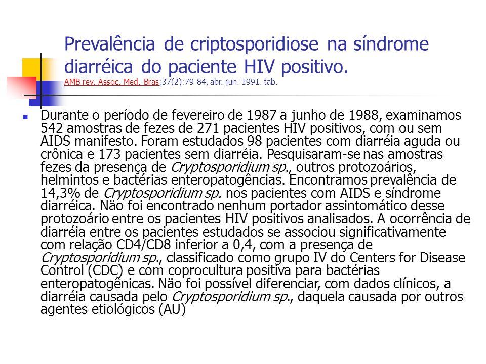 Prevalência de criptosporidiose na síndrome diarréica do paciente HIV positivo. AMB rev. Assoc. Med. Bras;37(2):79-84, abr.-jun. 1991. tab.