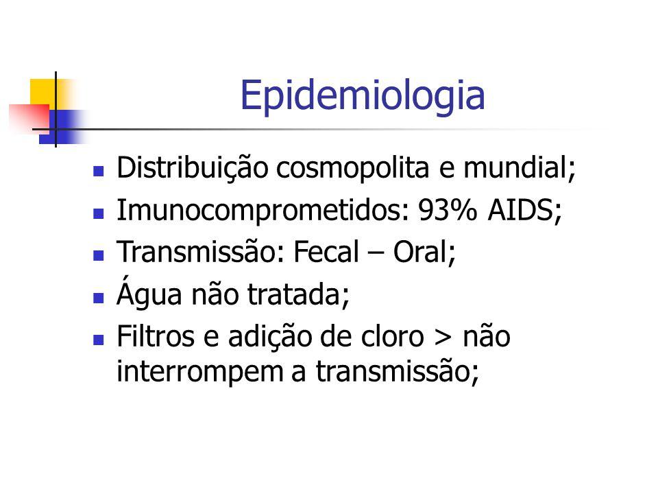 Epidemiologia Distribuição cosmopolita e mundial;