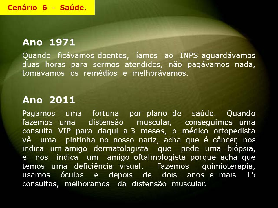 Cenário 6 - Saúde. Ano 1971.