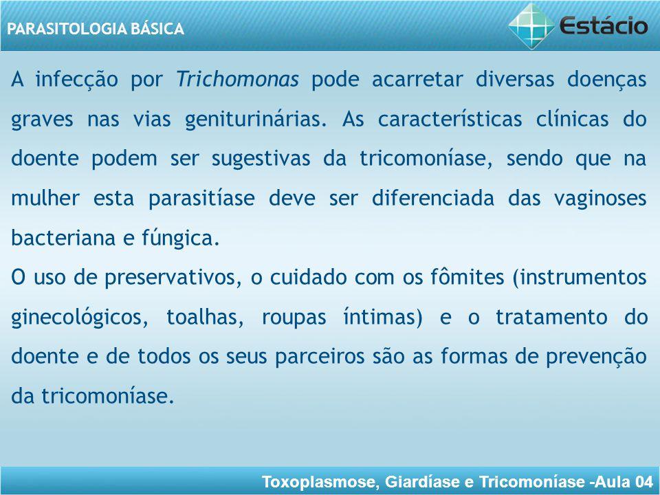 A infecção por Trichomonas pode acarretar diversas doenças graves nas vias geniturinárias. As características clínicas do doente podem ser sugestivas da tricomoníase, sendo que na mulher esta parasitíase deve ser diferenciada das vaginoses bacteriana e fúngica.
