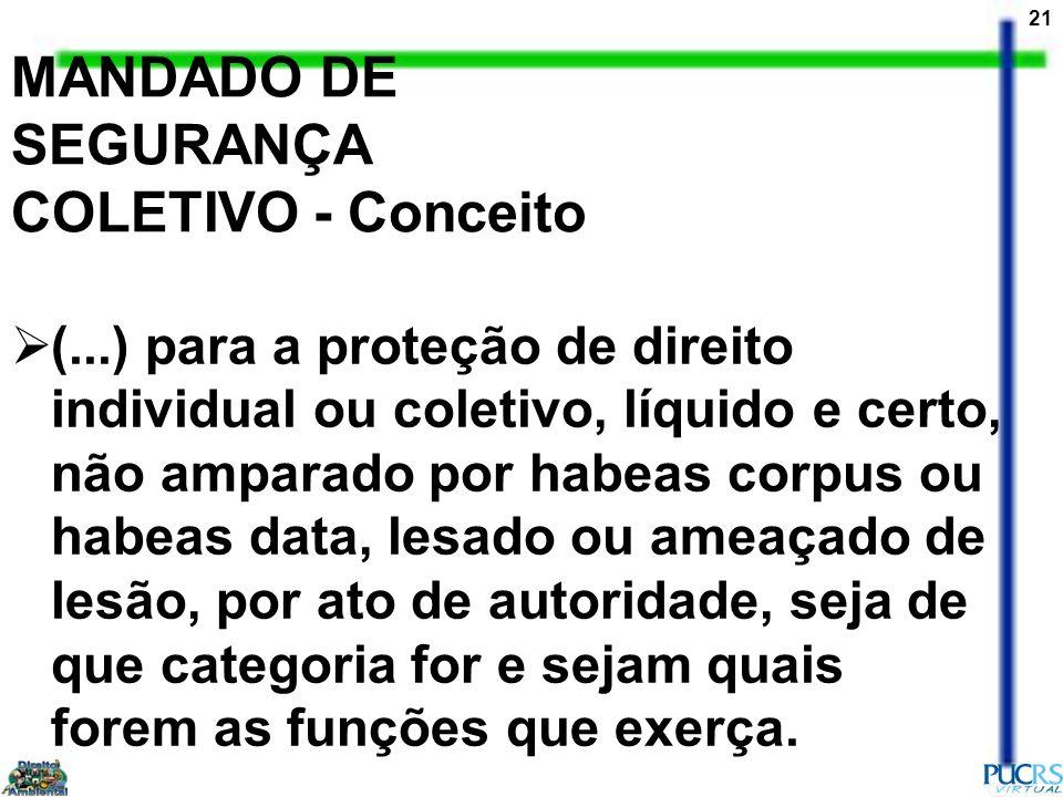MANDADO DE SEGURANÇA COLETIVO - Conceito