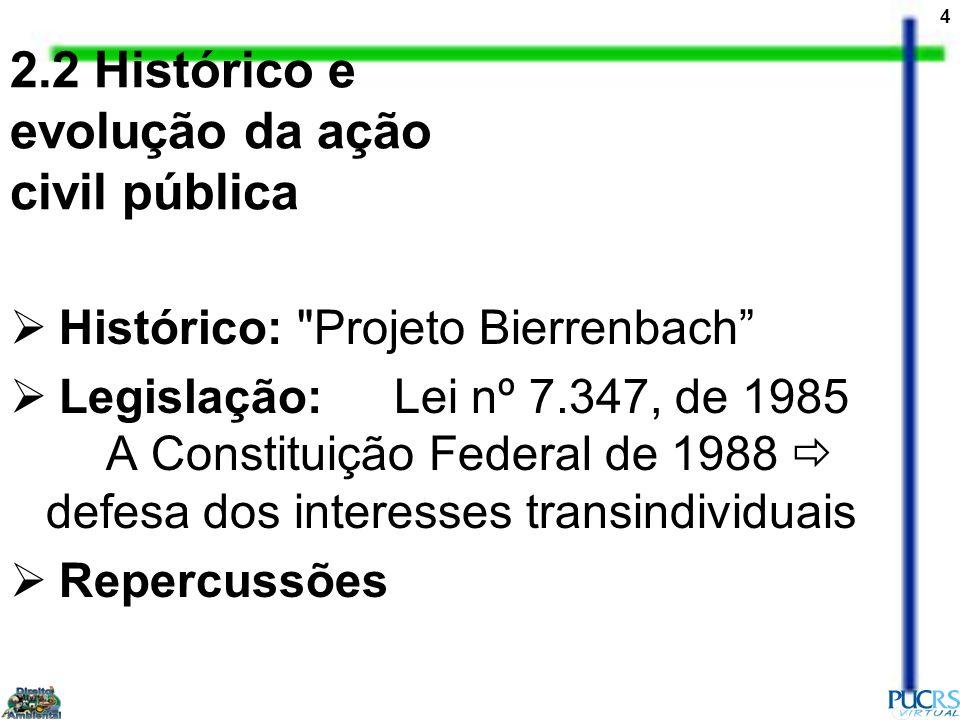 2.2 Histórico e evolução da ação civil pública