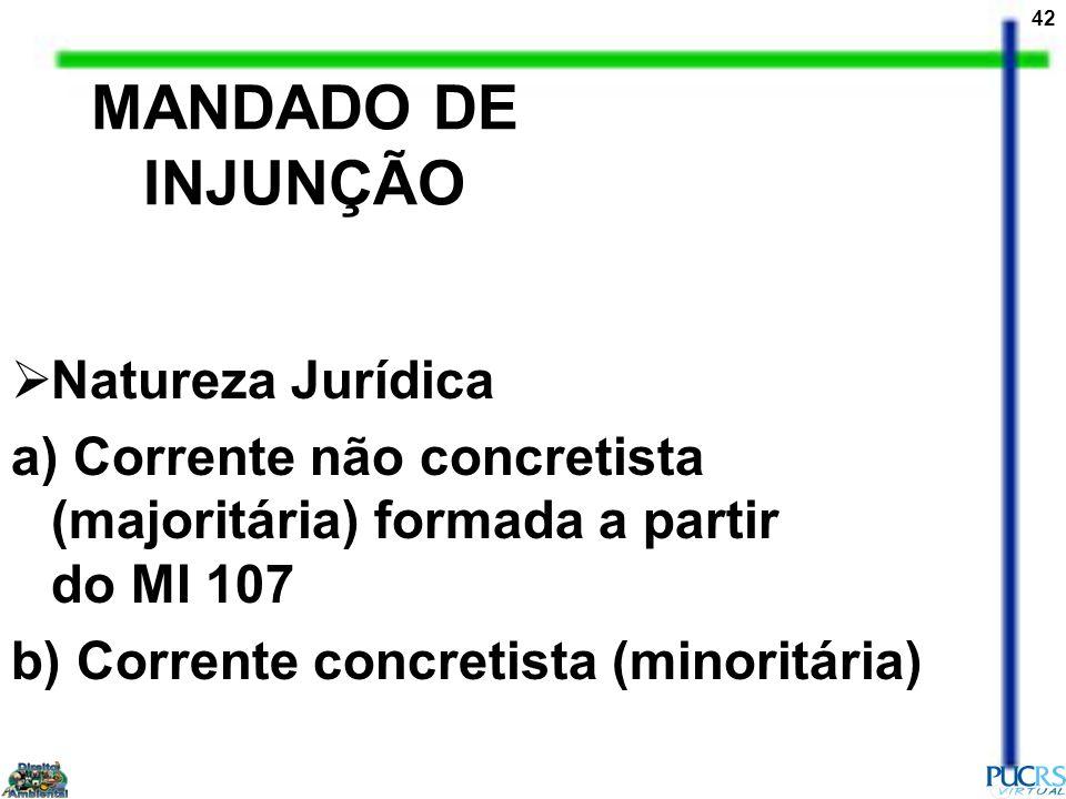 MANDADO DE INJUNÇÃO Natureza Jurídica