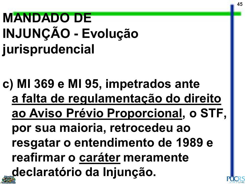 MANDADO DE INJUNÇÃO - Evolução jurisprudencial