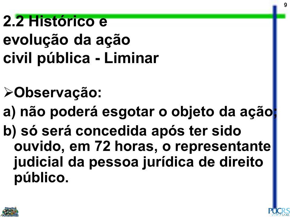 2.2 Histórico e evolução da ação civil pública - Liminar