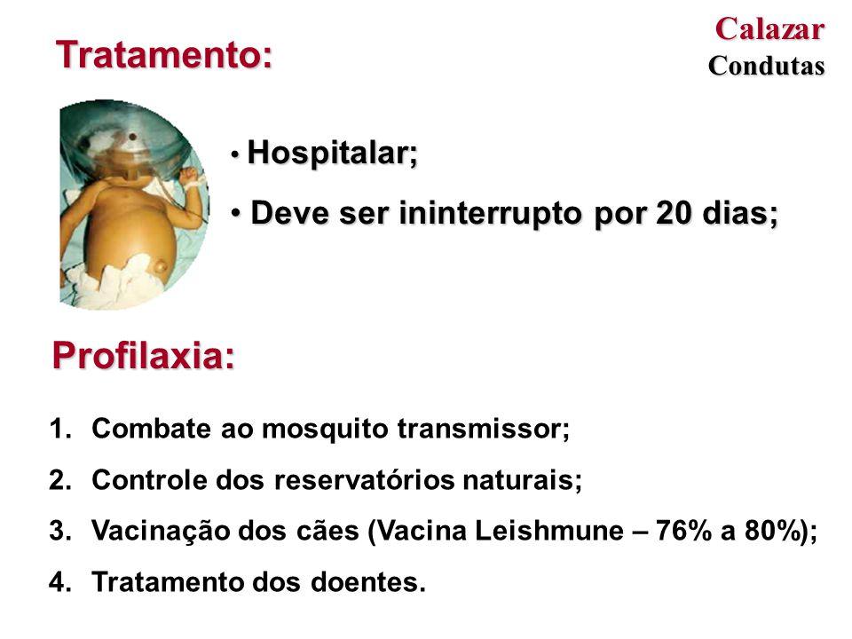Tratamento: Profilaxia: Calazar Deve ser ininterrupto por 20 dias;