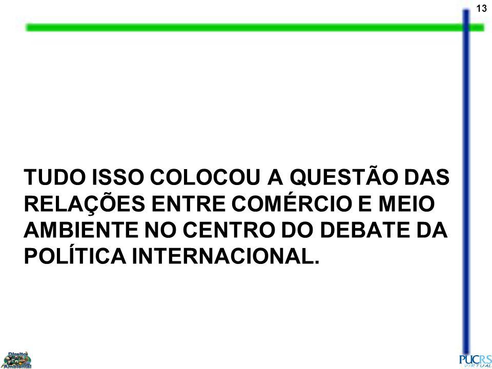 TUDO ISSO COLOCOU A QUESTÃO DAS RELAÇÕES ENTRE COMÉRCIO E MEIO AMBIENTE NO CENTRO DO DEBATE DA POLÍTICA INTERNACIONAL.