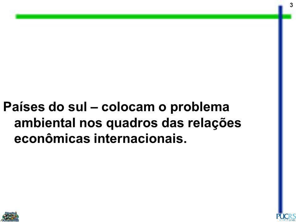 Países do sul – colocam o problema ambiental nos quadros das relações econômicas internacionais.