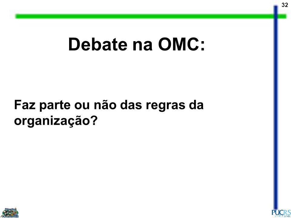 Debate na OMC: Faz parte ou não das regras da organização