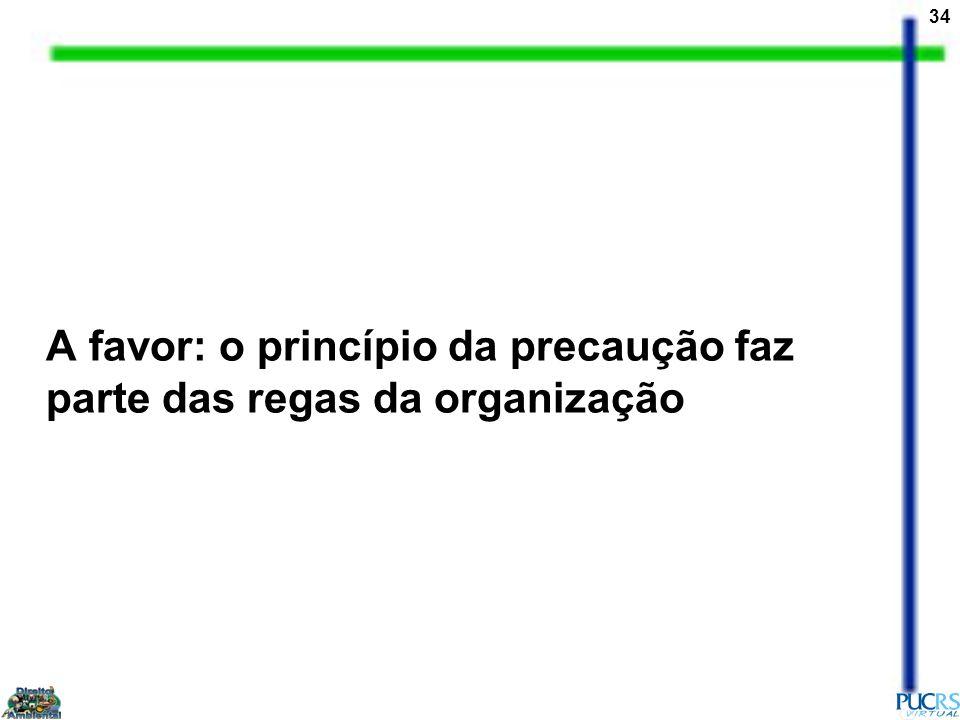 A favor: o princípio da precaução faz parte das regas da organização