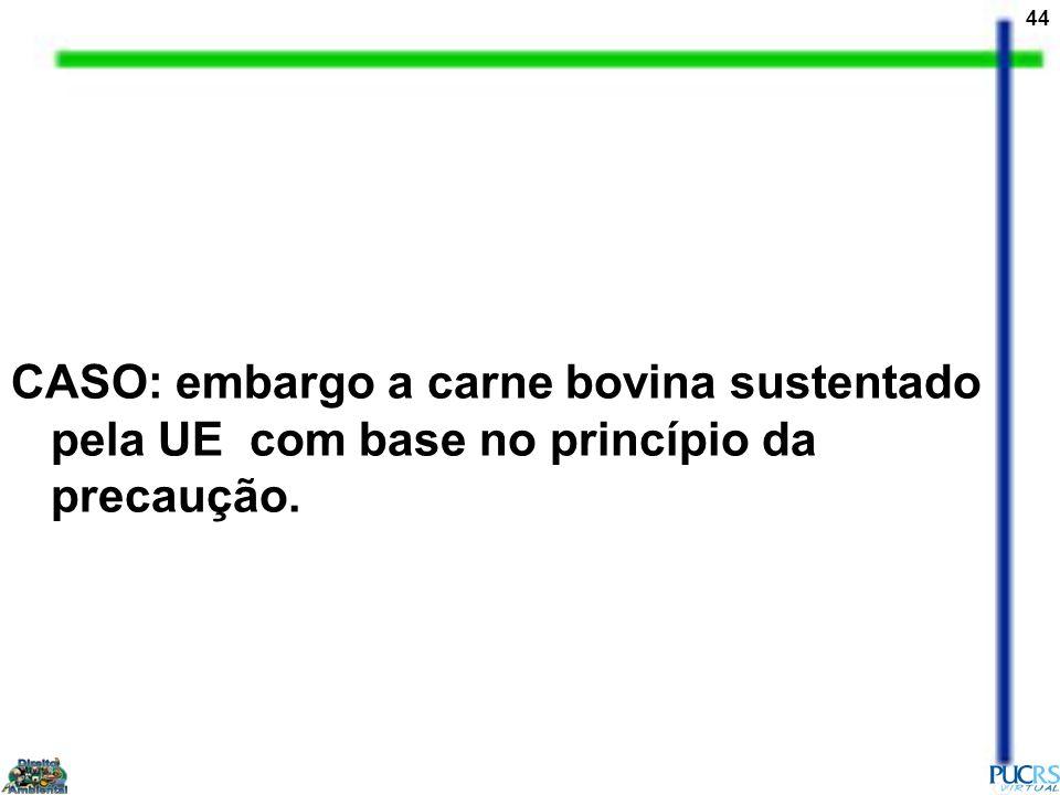 CASO: embargo a carne bovina sustentado pela UE com base no princípio da precaução.