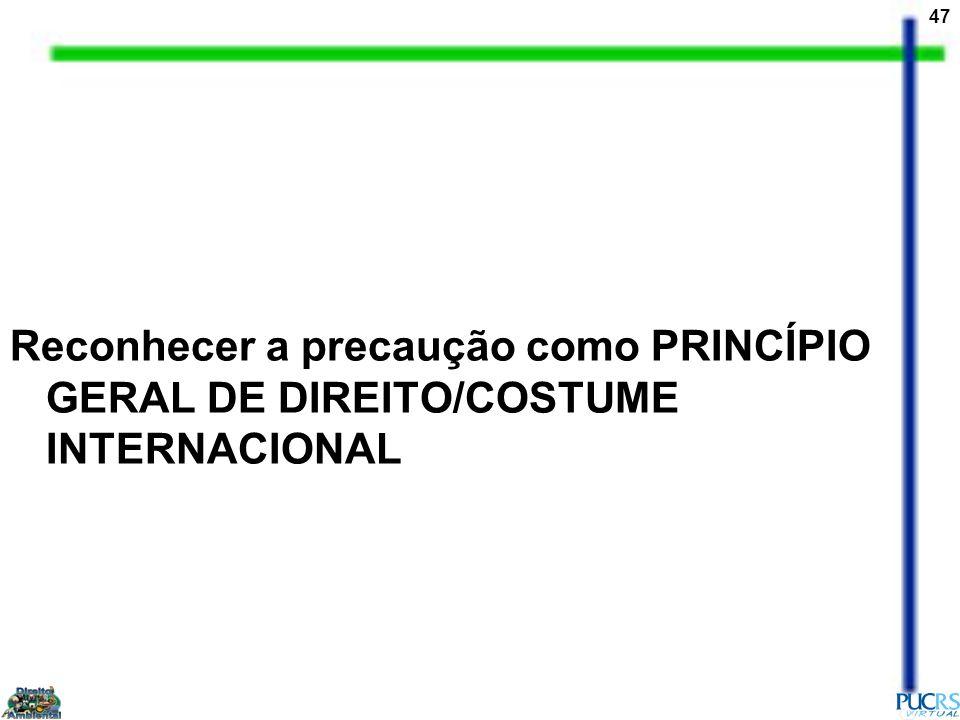 Reconhecer a precaução como PRINCÍPIO GERAL DE DIREITO/COSTUME INTERNACIONAL