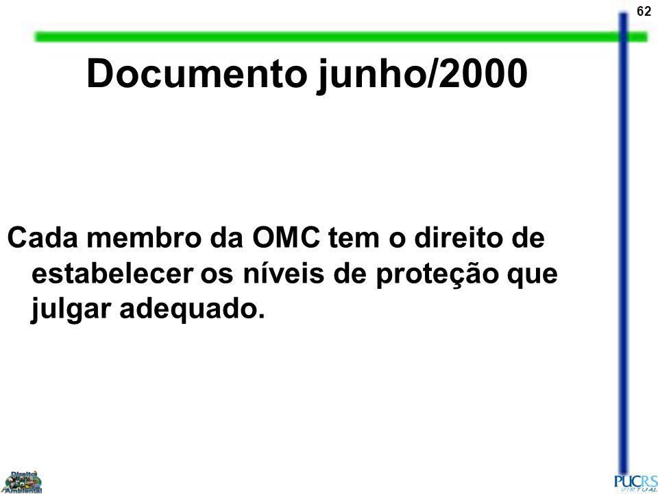 Documento junho/2000 Cada membro da OMC tem o direito de estabelecer os níveis de proteção que julgar adequado.