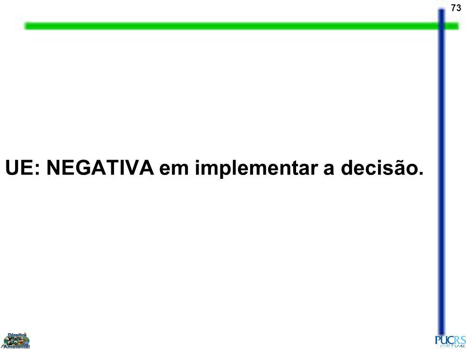 UE: NEGATIVA em implementar a decisão.