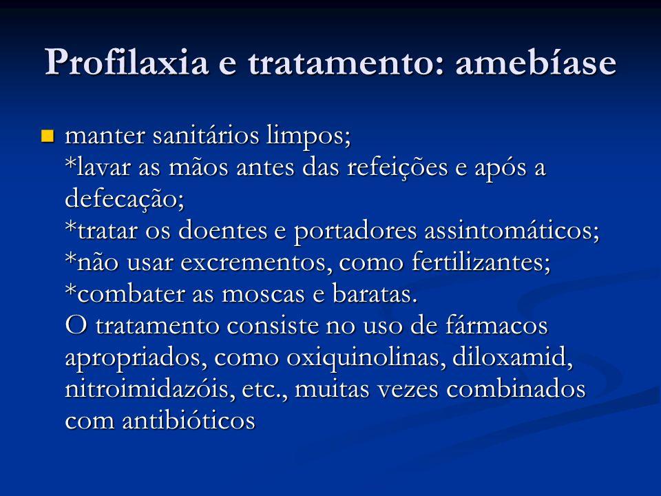 Profilaxia e tratamento: amebíase