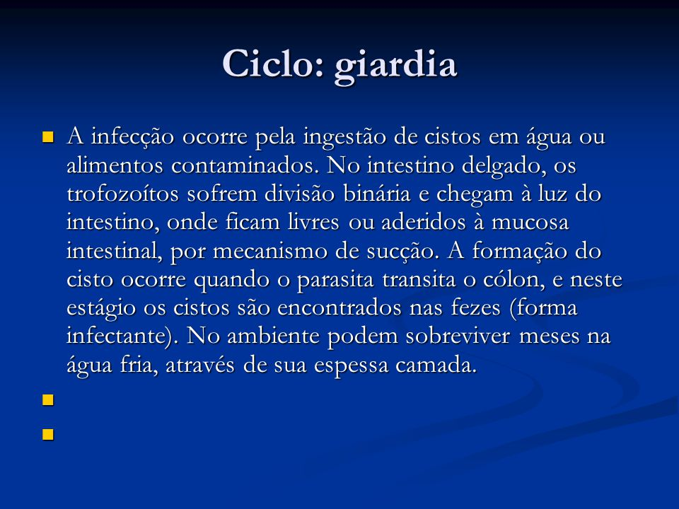 Ciclo: giardia