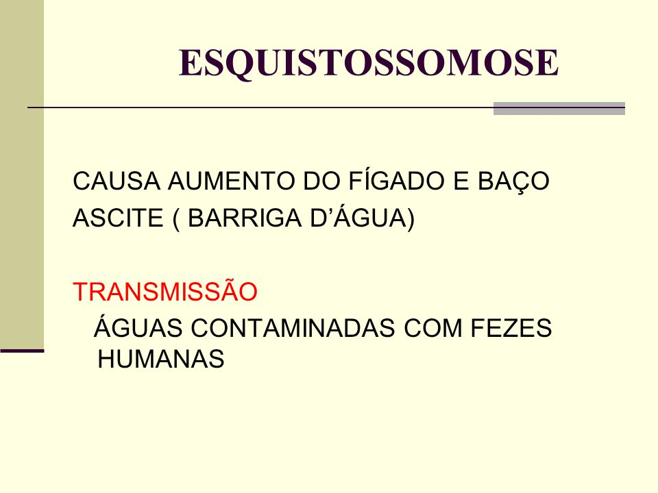 ESQUISTOSSOMOSE CAUSA AUMENTO DO FÍGADO E BAÇO