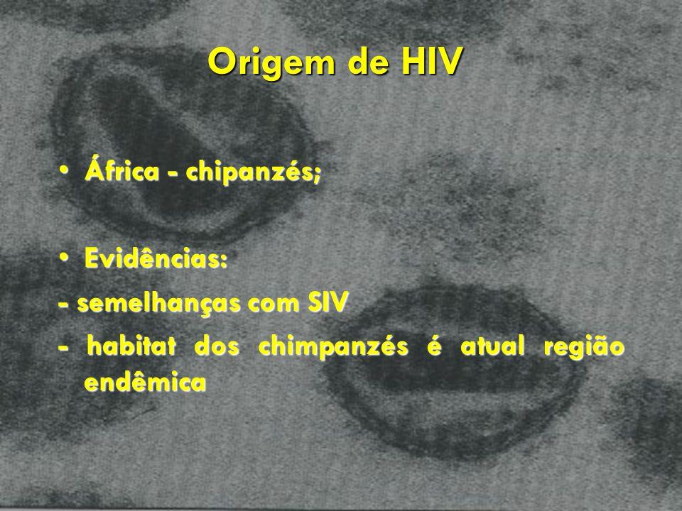 Origem de HIV África - chipanzés; Evidências: - semelhanças com SIV