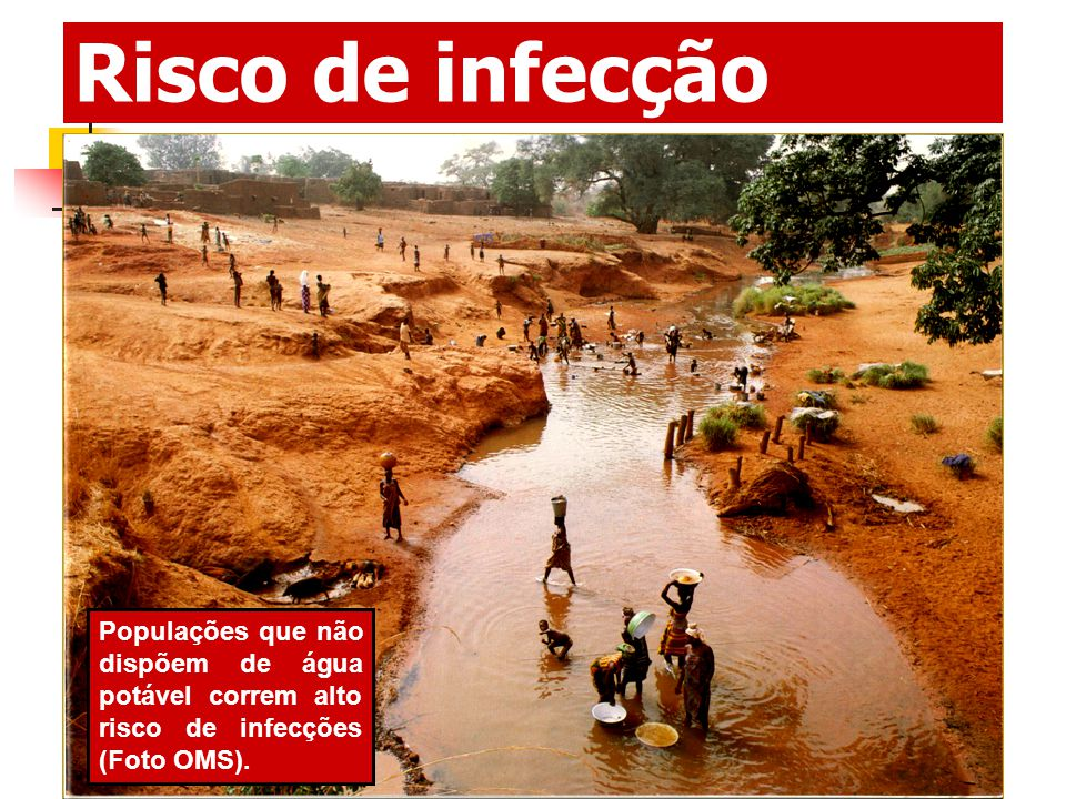 Risco de infecção Populações que não dispõem de água potável correm alto risco de infecções (Foto OMS).