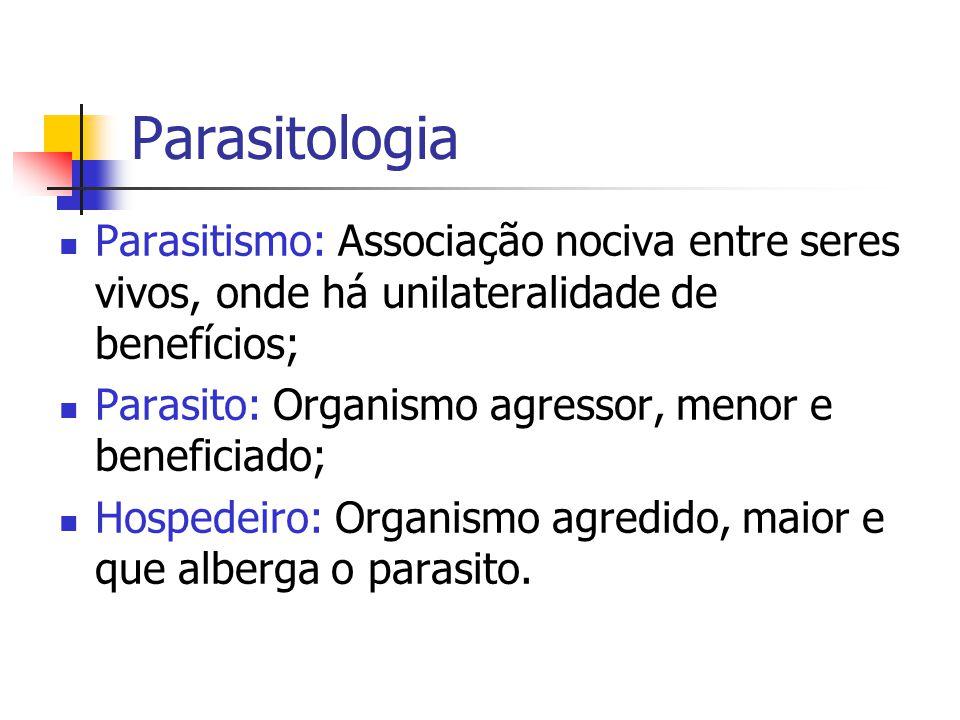 Parasitologia Parasitismo: Associação nociva entre seres vivos, onde há unilateralidade de benefícios;