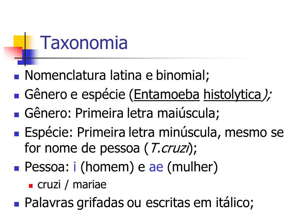 Taxonomia Nomenclatura latina e binomial;