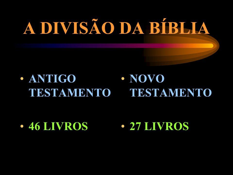 A DIVISÃO DA BÍBLIA ANTIGO TESTAMENTO 46 LIVROS NOVO TESTAMENTO