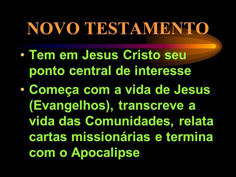 NOVO TESTAMENTO Tem em Jesus Cristo seu ponto central de interesse