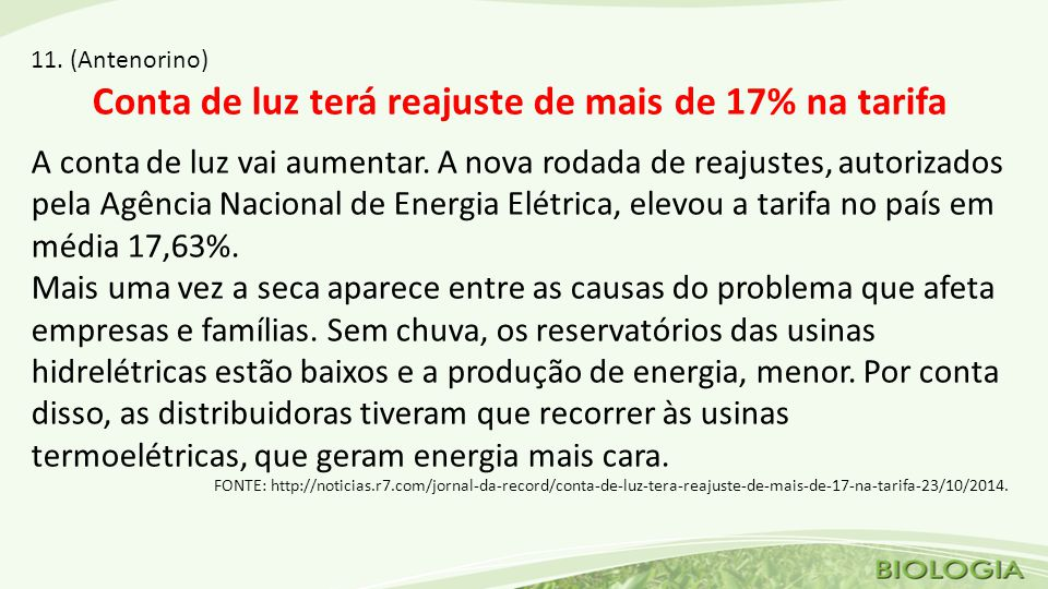 Conta de luz terá reajuste de mais de 17% na tarifa
