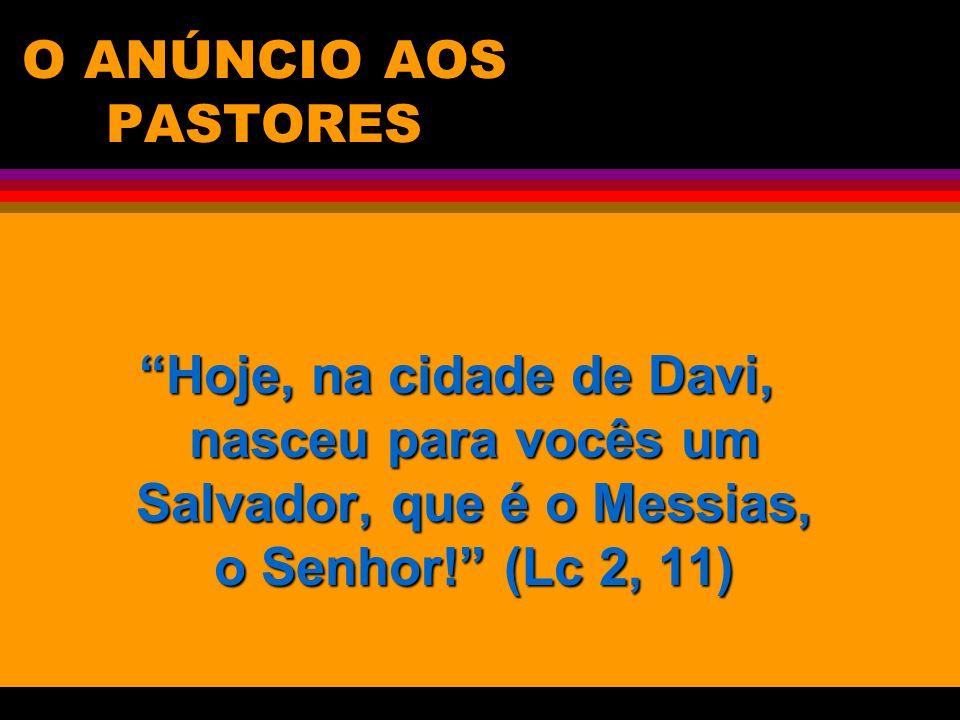 O ANÚNCIO AOS PASTORES Hoje, na cidade de Davi, nasceu para vocês um Salvador, que é o Messias, o Senhor! (Lc 2, 11)