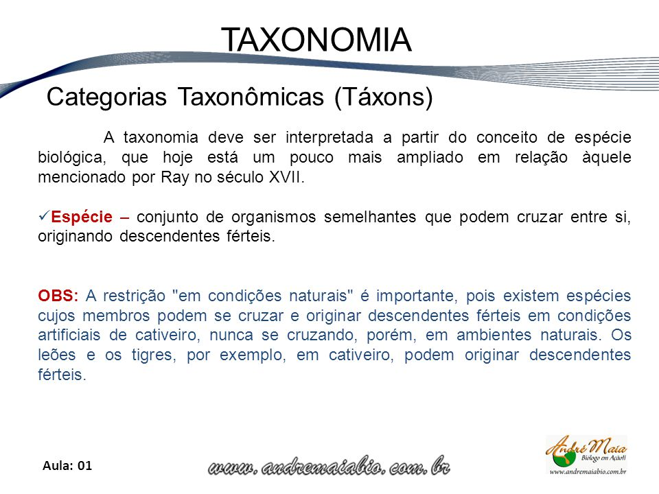Categorias Taxonômicas (Táxons)