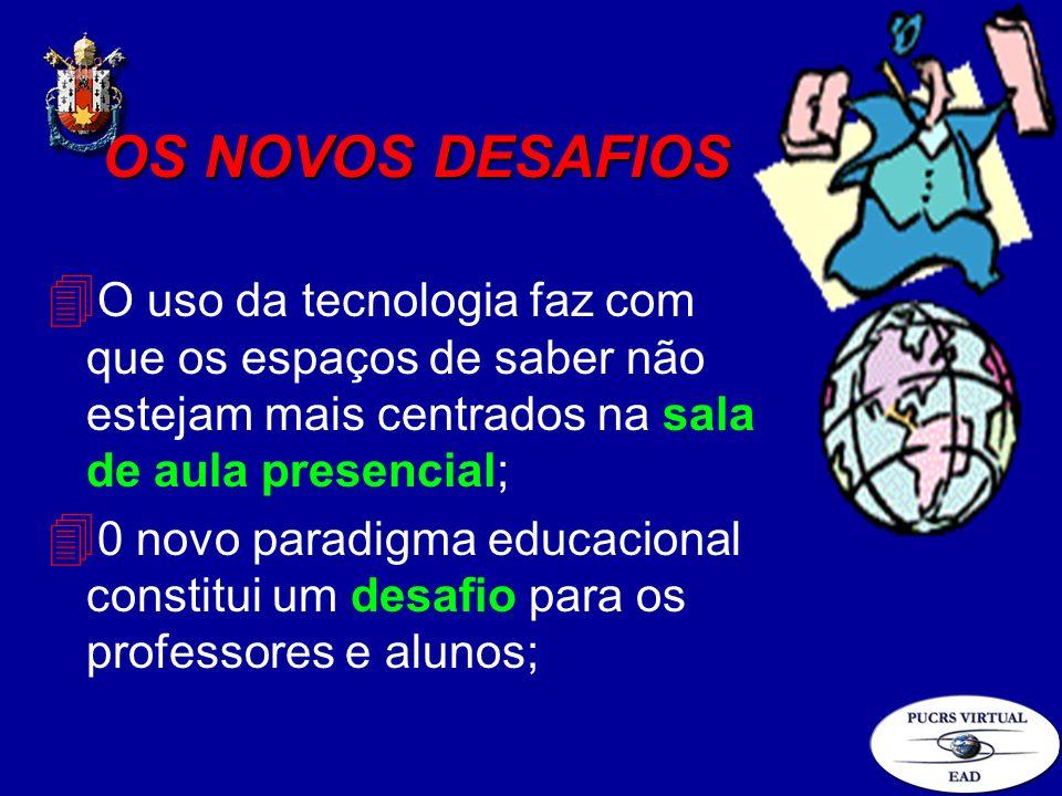 OS NOVOS DESAFIOS O uso da tecnologia faz com que os espaços de saber não estejam mais centrados na sala de aula presencial;